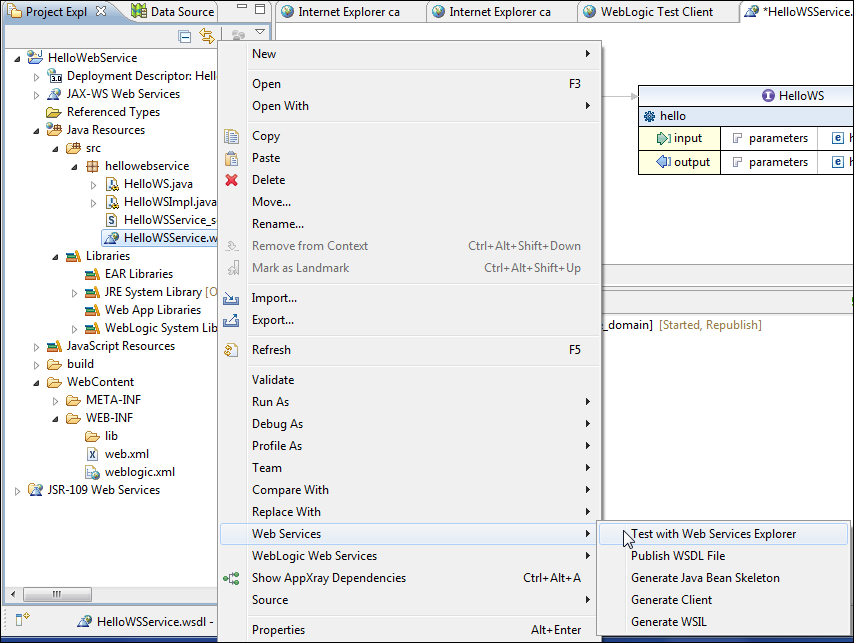 Testing WSDL in web services explorer - Java EE Development with Eclipse