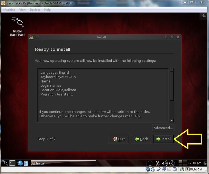 Installing BackTrack5 R2 on Oracle VM Virtual Box - Learning