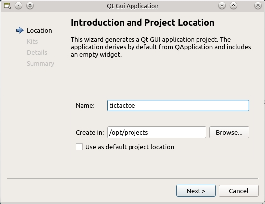 Time for action – creating a Qt Desktop project - Game