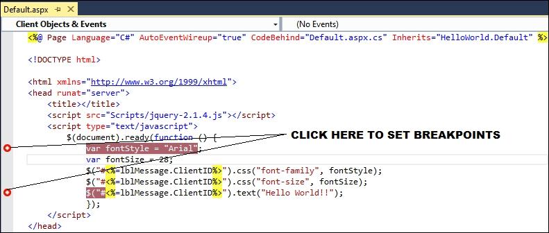 Debugging jQuery code in Visual Studio - ASP NET jQuery