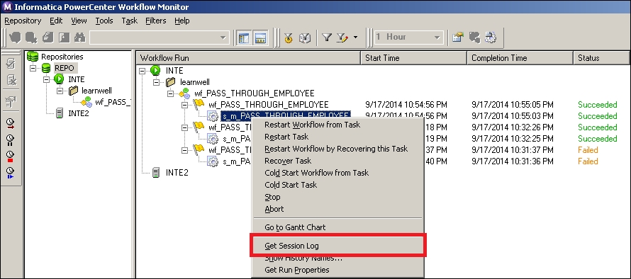 Viewing the session log and workflow log - Learning
