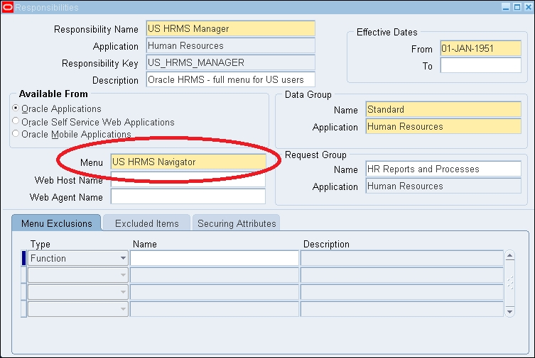 Menu in Oracle apps - Oracle E-Business Suite R12 x HRMS - A