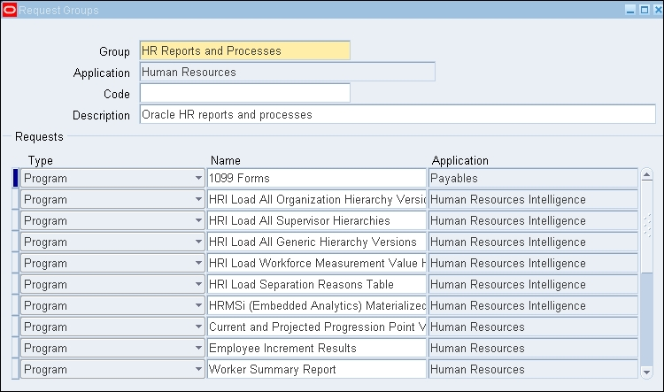 Request and data group - Oracle E-Business Suite R12 x HRMS - A