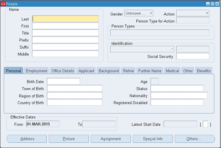 Creating an employee - Oracle E-Business Suite R12 x HRMS - A
