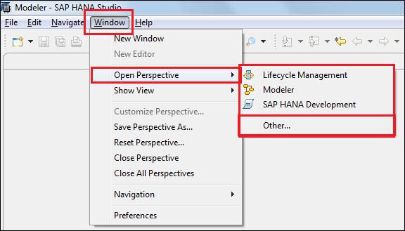 Switching between different views – perspectives - SAP HANA Cookbook