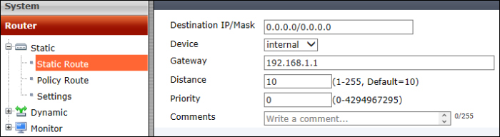 Static routing - Getting Started with FortiGate