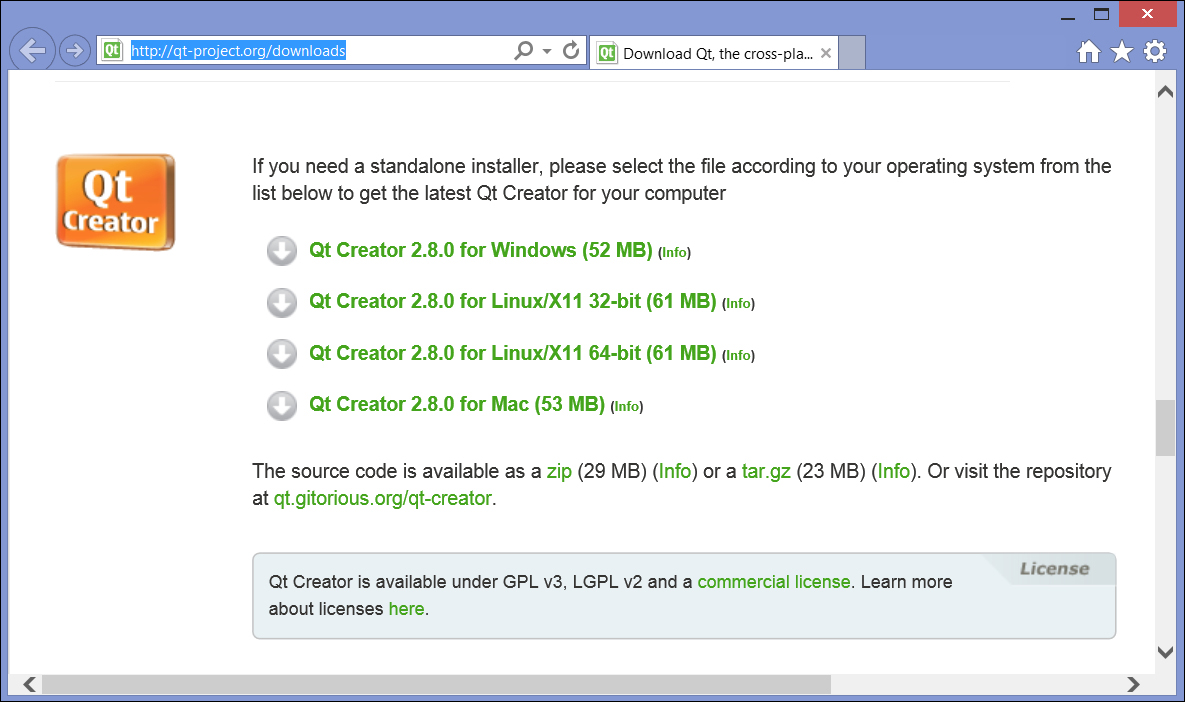Downloading Qt Creator - Application Development with Qt Creator Downloading Qt Creator