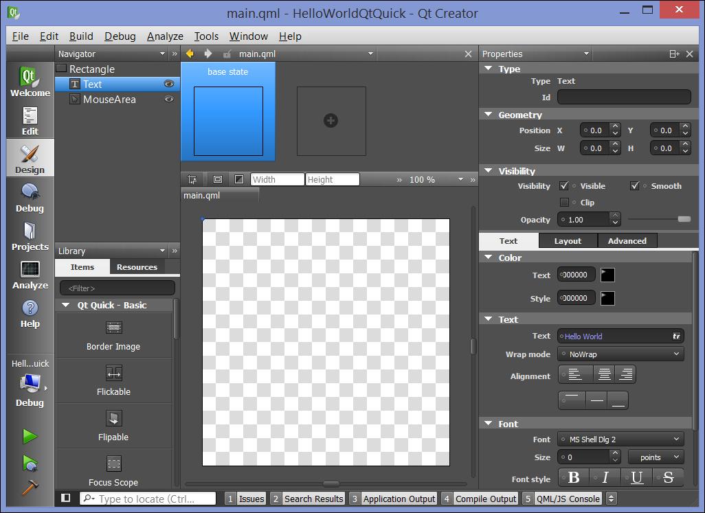 Hello World using Qt Quick - Application Development with Qt