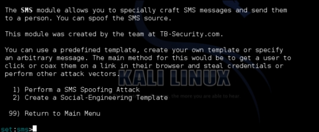 Understanding the SMS spoofing attack vector - Kali Linux