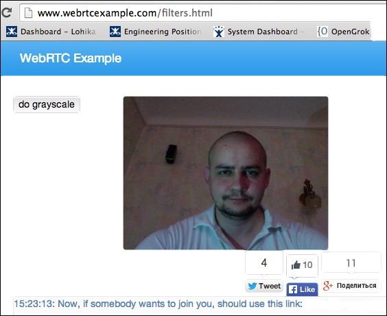 Working with colors and grayscale - WebRTC Cookbook