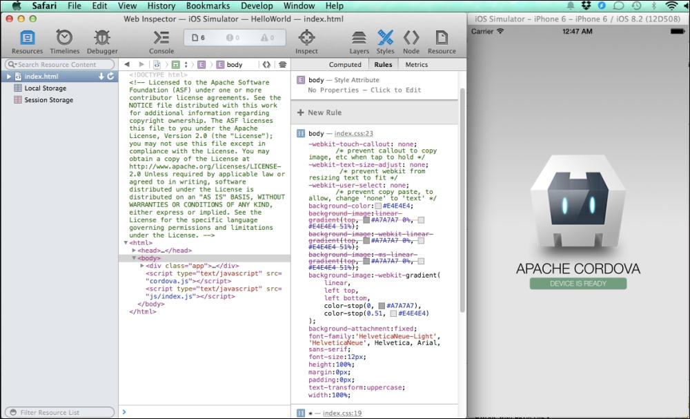 Debugging the iOS Cordova application using Safari Web Inspector