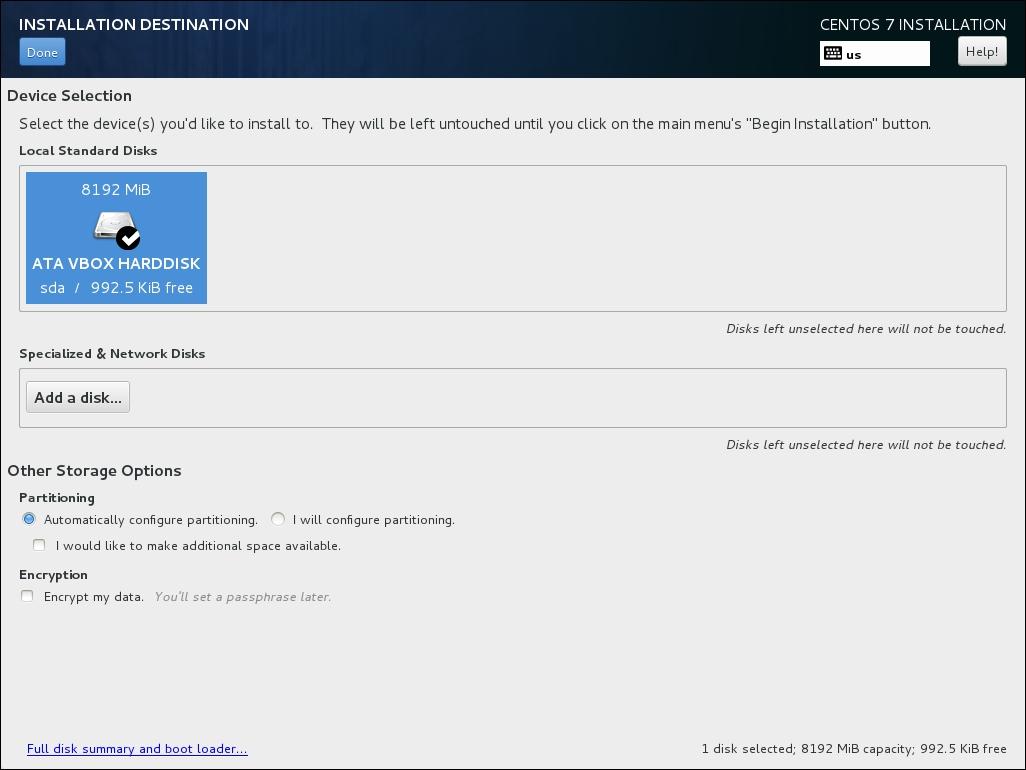 Installing CentOS using Anaconda in graphics mode - CentOS 7