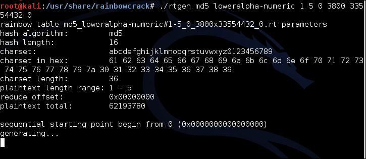 crack linux password rainbow tables