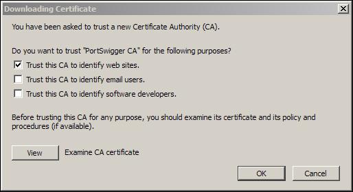 Importing the Burp certificate in Mozilla Firefox - Burp