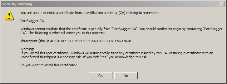 Importing the Burp certificate in Microsoft IE and Google Chrome