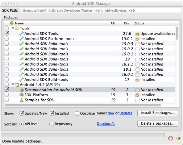 Android SDK Manager - Learning Xamarin Studio