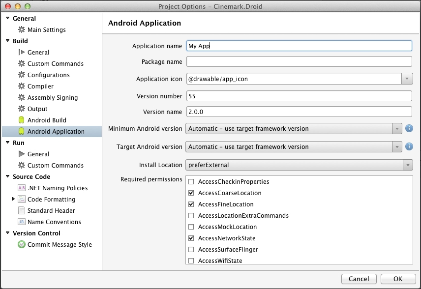 Editor for the ApplicationManifest xml file - Xamarin Essentials