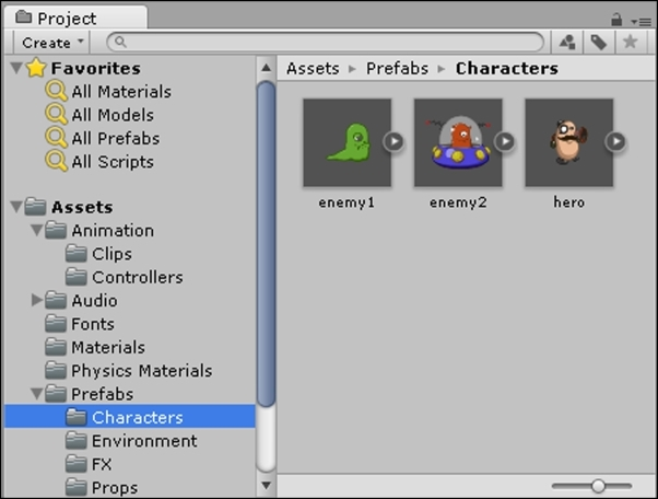 Project Browser - Learning Unity 2D Game Development by Example