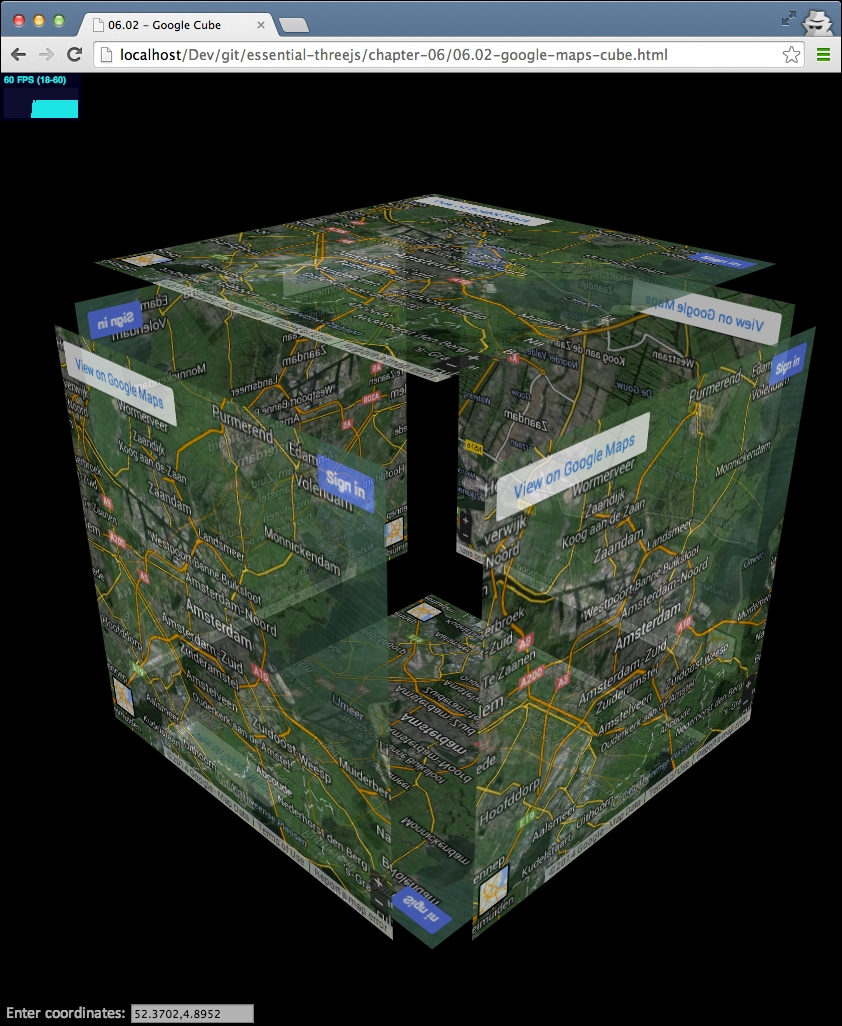 Creating an interactive 3D Google Maps cube - Three js Essentials