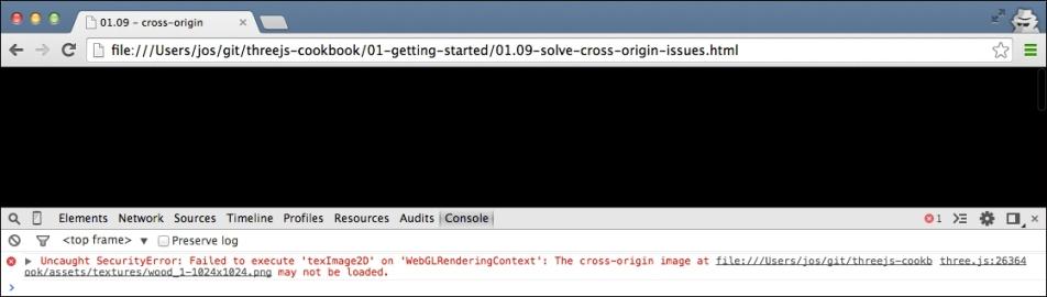 Solving cross-origin-domain error messages in Chrome - Three js Cookbook