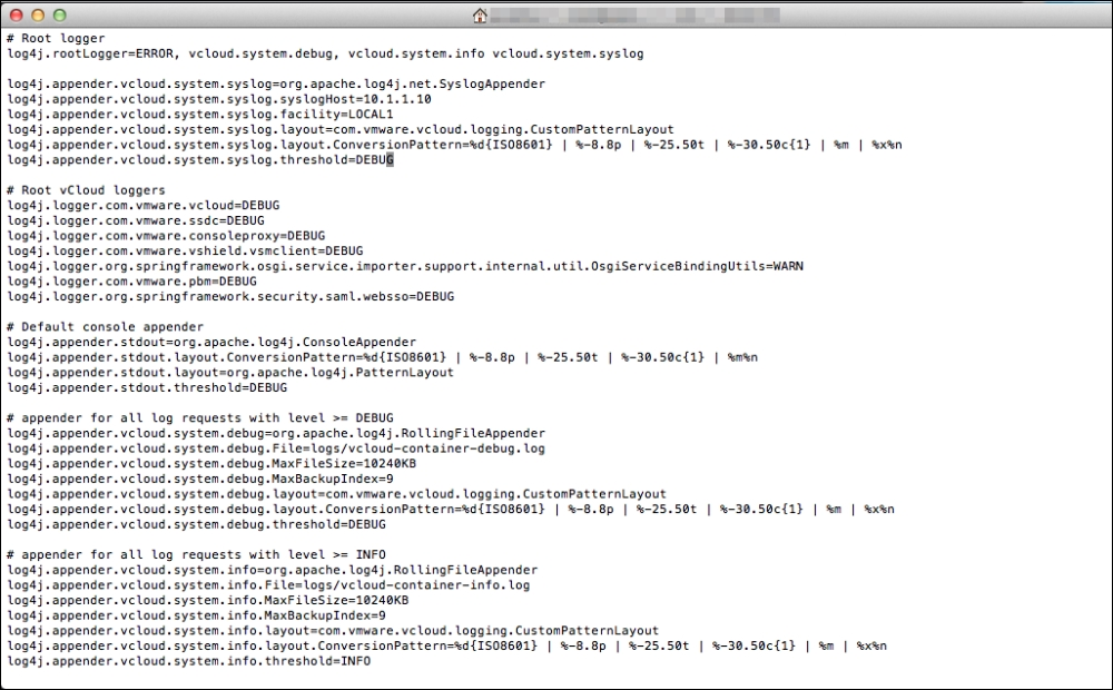 Configuring centralized logging - VMware vCloud Director Essentials