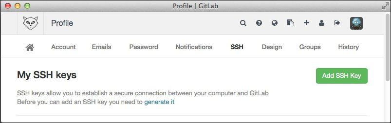 Adding your SSH key to GitLab - GitLab Cookbook