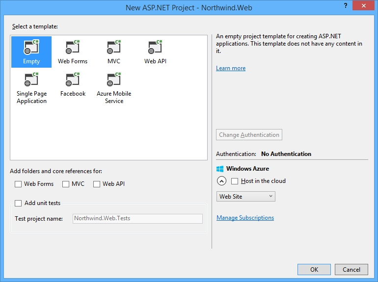 Creating an empty ASP NET MVC site and adding Bootstrap