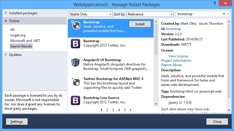 Adding Bootstrap files using NuGet - Bootstrap for ASP NET MVC