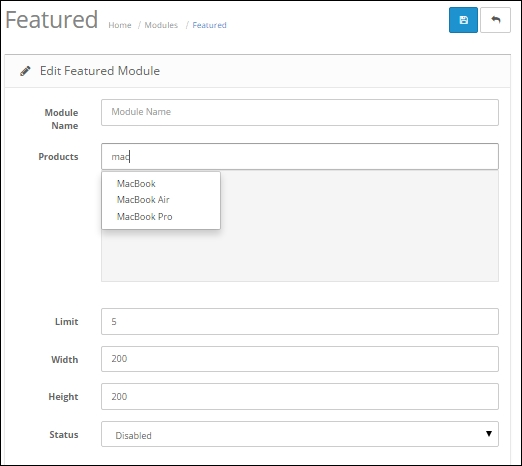 The Featured module - OpenCart Theme and Module Development