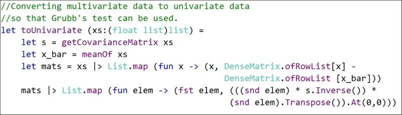 Grubb's test for multivariate data using Mahalanobis