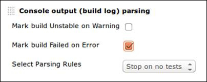 Deliberately failing builds through log parsing - Jenkins