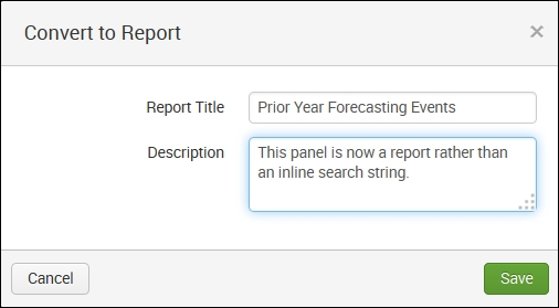 Converting the panel to a report - Implementing Splunk