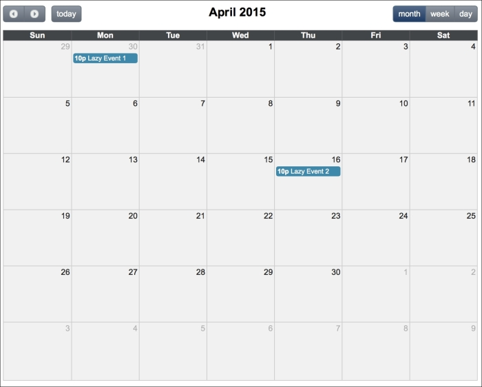 Managing events with schedule by leveraging lazy loading