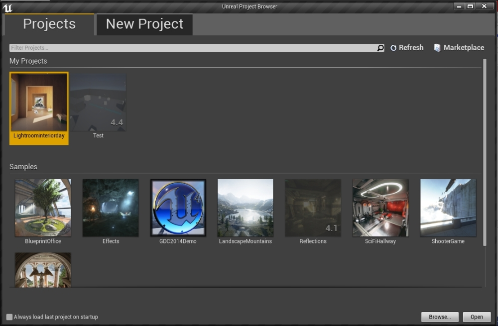 The Unreal Project Browser - Learning Unreal Engine Android