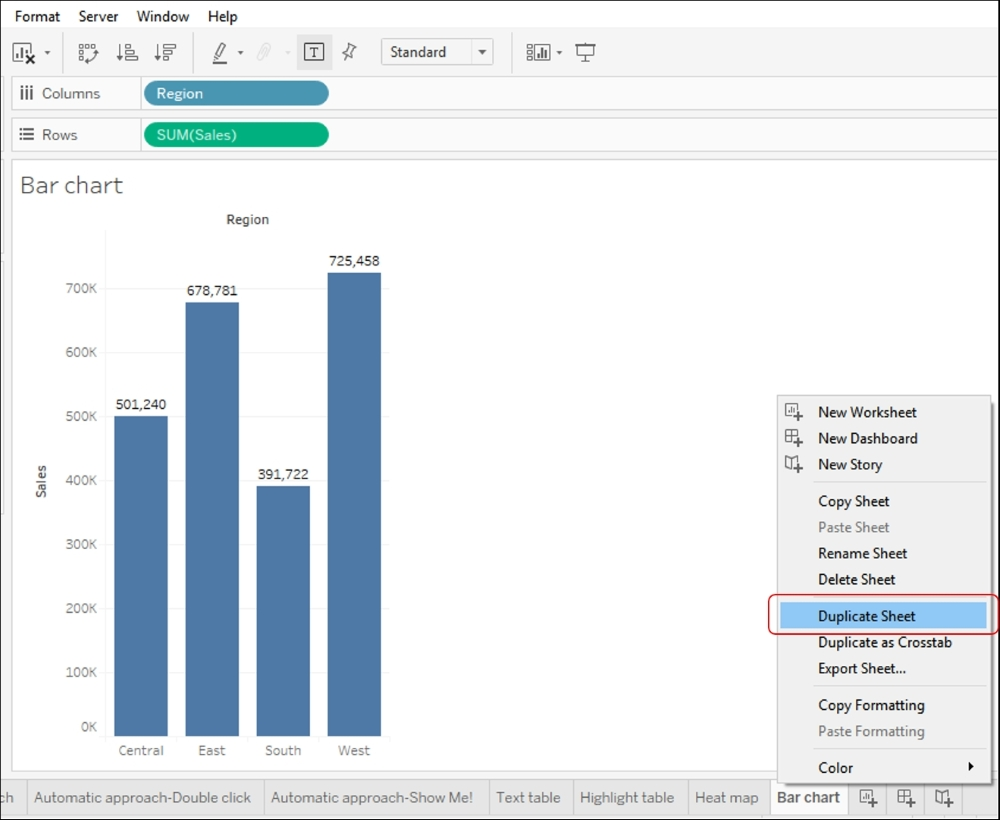 Creating a Stacked Bar chart - Tableau Cookbook - Recipes