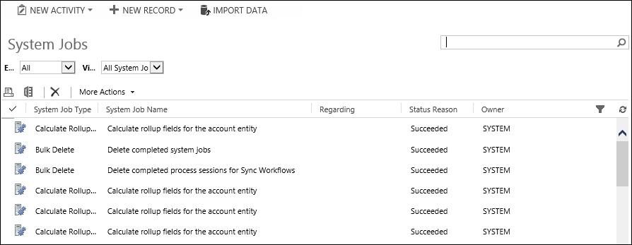 Monitoring system jobs - Microsoft Dynamics CRM Customization Essentials