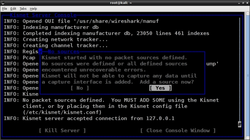 Wireless scanning with Kismet - Kali Linux Wireless