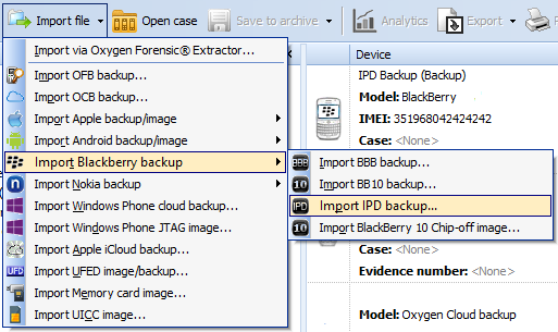 BlackBerry backup parsing with Oxygen Forensic - Mobile Forensics