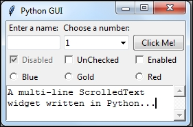 Using scrolled text widgets - Python GUI Programming Cookbook