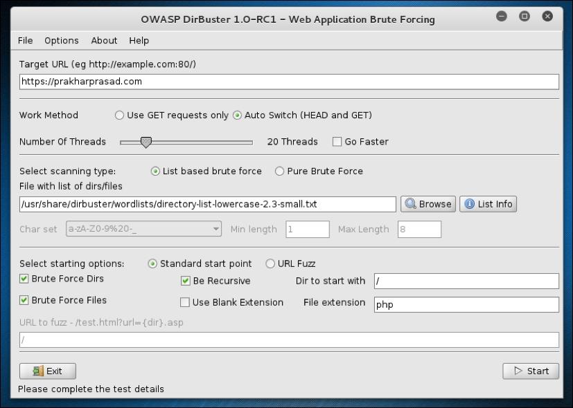 DirBuster - Mastering Modern Web Penetration Testing