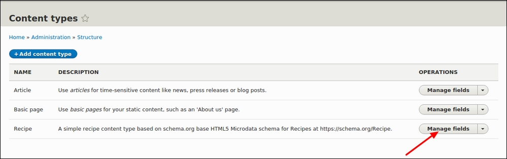 Time for action – adding a Recipe images field to our Recipe