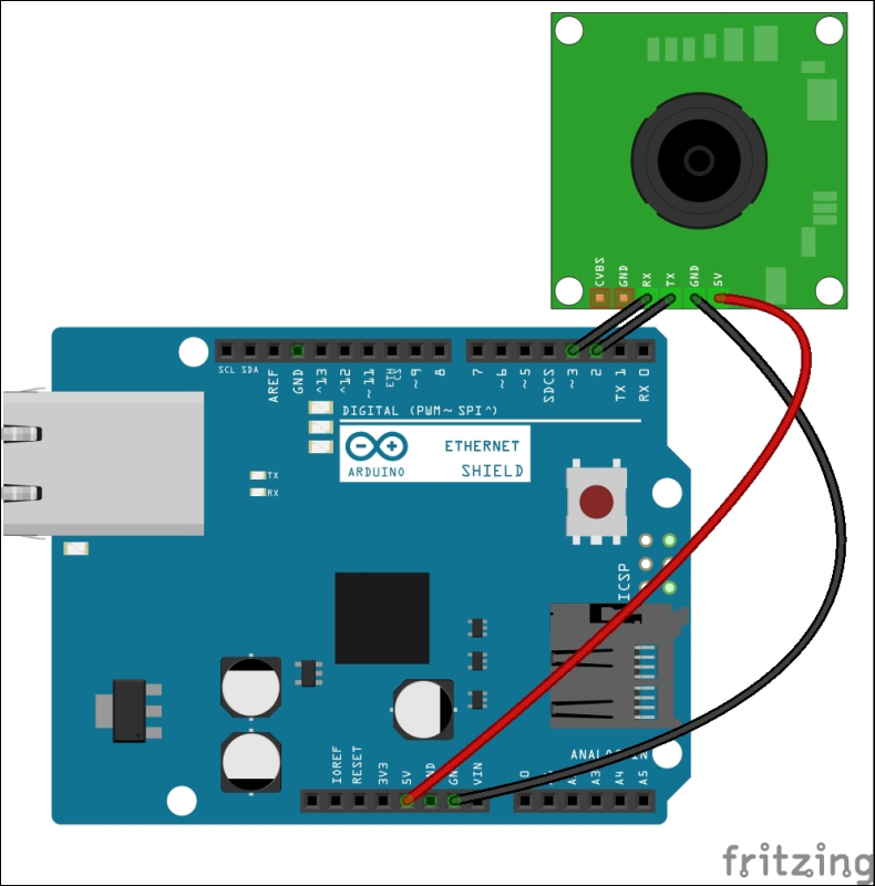 connecting the ttl serial camera with arduino and ethernet shieldthe adafruit vc0706 serial jpeg camera is connected with arduino ethernet shield