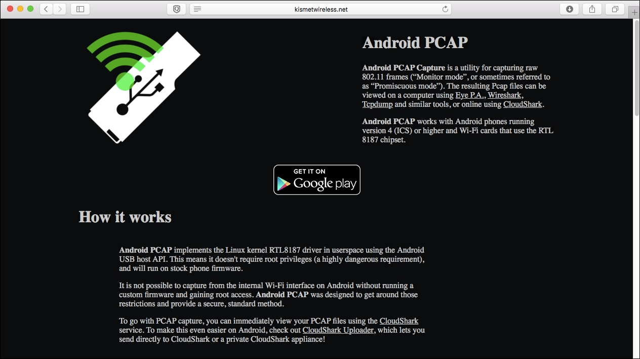 Wireless discovery using Android PCAP - Mastering Kali Linux