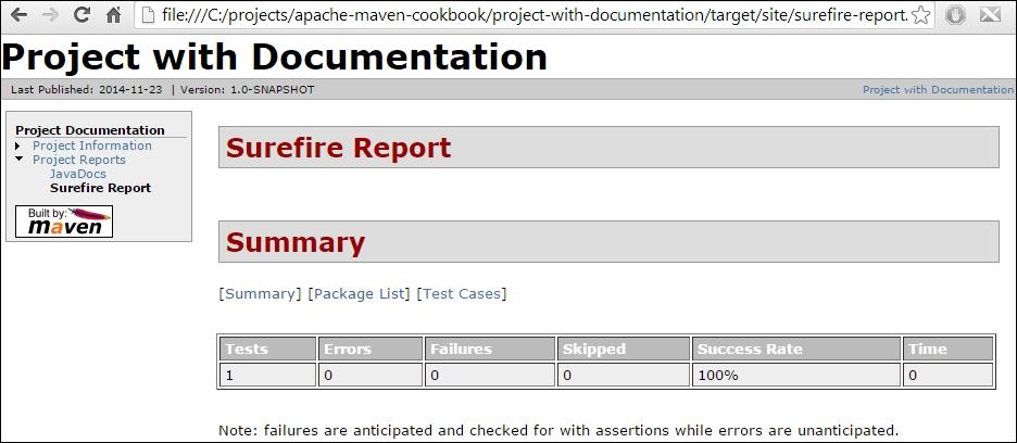 Generating unit test reports for a site - Apache Maven Cookbook