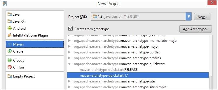 Creating a new Maven project in IntelliJ IDEA - Apache Maven Cookbook