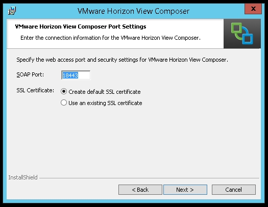 Installation of the View Composer 6 0 - VMware Horizon View High
