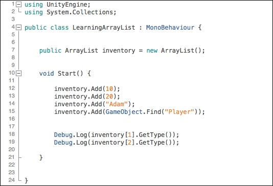 ArrayList - Learning C# by Developing Games with Unity 5 x