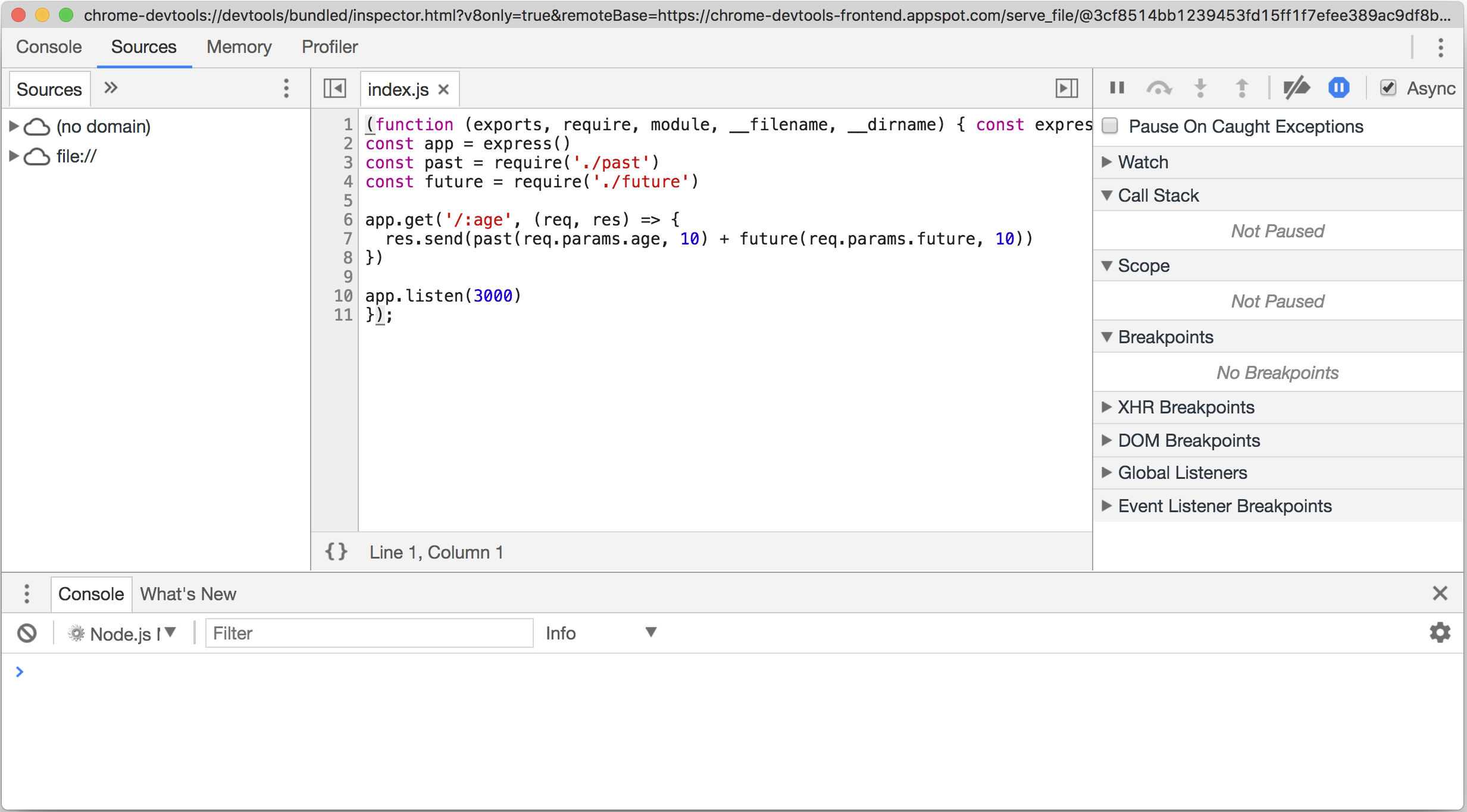 Debugging Node with Chrome Devtools - Node Cookbook - Third