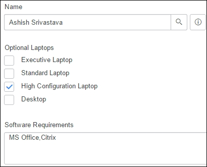 Creating service requests from the Service-Now portal