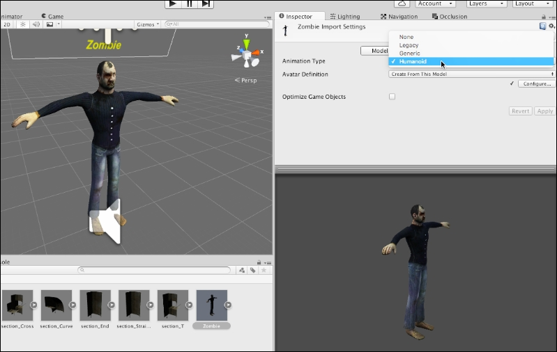 Configuring the zombie character - Mastering Unity 5 x
